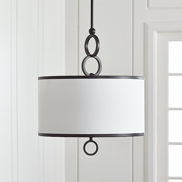 "Axiom 18"" Black Drum Pendant Light - Image 1 of 7"