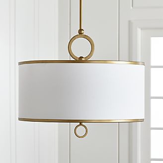 Pendant lighting and chandeliers crate and barrel axiom 24 brass drum pendant light aloadofball Gallery