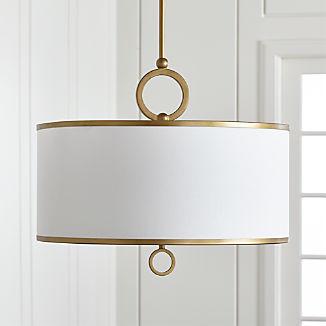 "Axiom 24"" Brass Drum Pendant Light"