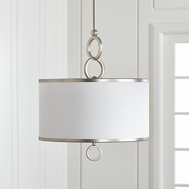 """Axiom 18"""" Brushed Silver Drum Pendant Light - Image 1 of 7"""
