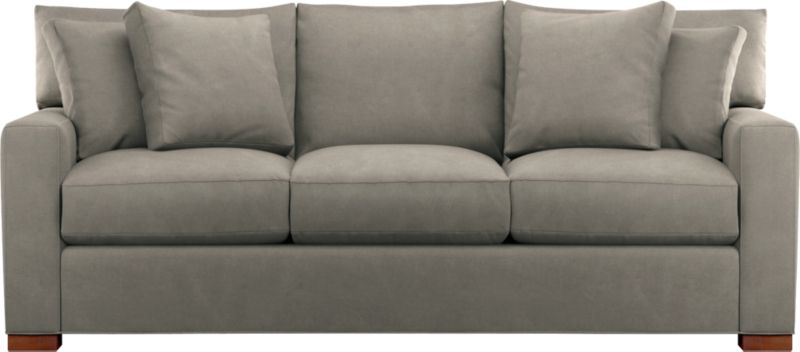 """The modern clean lines of our best selling Axis relax with a casual attitude in a heavy-ounce cotton, brushed and stonewashed for a soft, lived-in feel. Wide track arms and plump back cushions frame deep seat cushions. Queen sleeper has locking headrest. Chunky block feet are stained a warm pecan. Axis sectional also available.<br /><br />After you place your order, we will send a fabric swatch via next day air for your final approval. We will contact you to verify both your receipt and approval of the fabric swatch before finalizing your order.<br /><br /><NEWTAG/><ul><li>Eco-friendly construction</li><li>Certified sustainable kiln-dried hardwood frame</li><li>Seat cushions are multilayer soy- or plant-based polyfoam wrapped in fiber-down blend and encased in downproof ticking</li><li>Back cushions are synthetic fiber and down wrapped in downproof ticking</li><li>Bi-fold 5½"""" innerspring mattress; locking headrest</li><li>Axis sleeper sofas open to a depth of 93""""</li><li>Upholstered in 100% cotton with stain-repellent treatment and topstitched detail</li><li>Square wood feet with a pecan finish</li><li>Benchmade</li><li>See additional frame options below</li></ul>"""