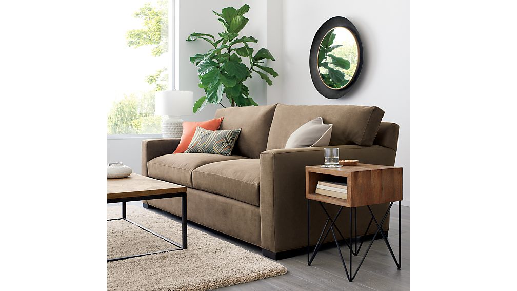 Axis II 2-Seater Brown Microfiber Sofa + Reviews | Crate and Barrel