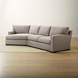Axis ii left arm chaise lounge crate and barrel for Angled chaise lounge sofa