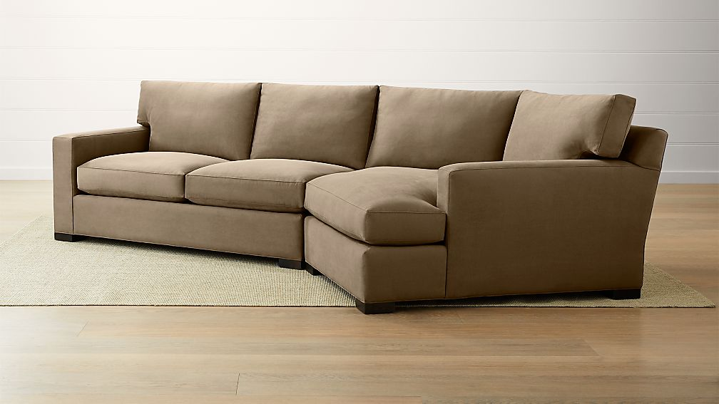 Axis ii 2 piece right arm angled chaise sectional sofa for Sectional sofa with angled chaise