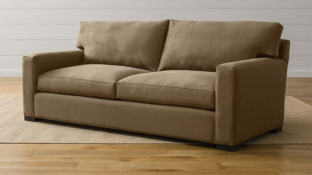 Axis ii 2 seater brown microfiber sofa crate and barrel - Sofas para salones pequenos ...