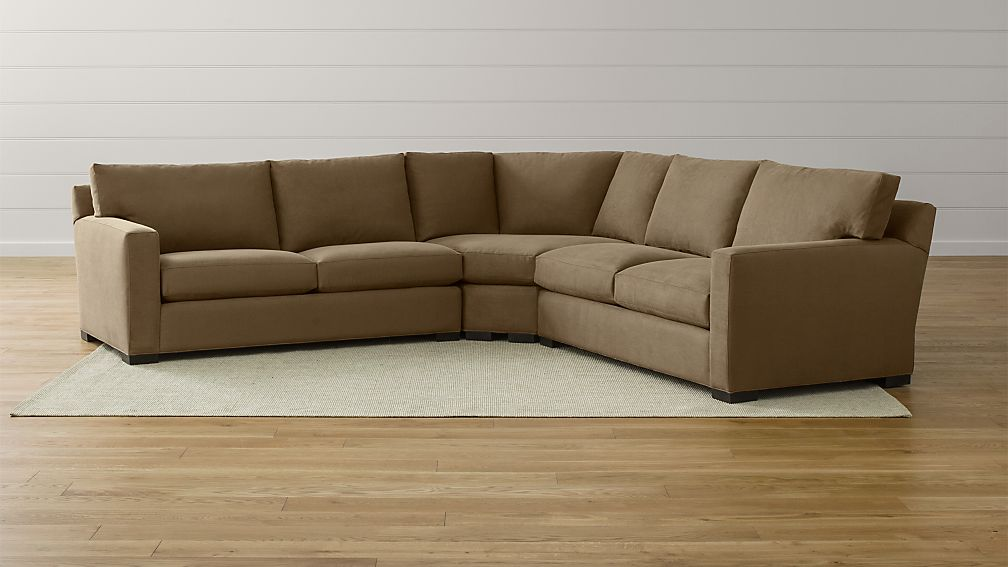 Axis II 3-Piece Brown Sectional Sofa + Reviews | Crate and Barrel