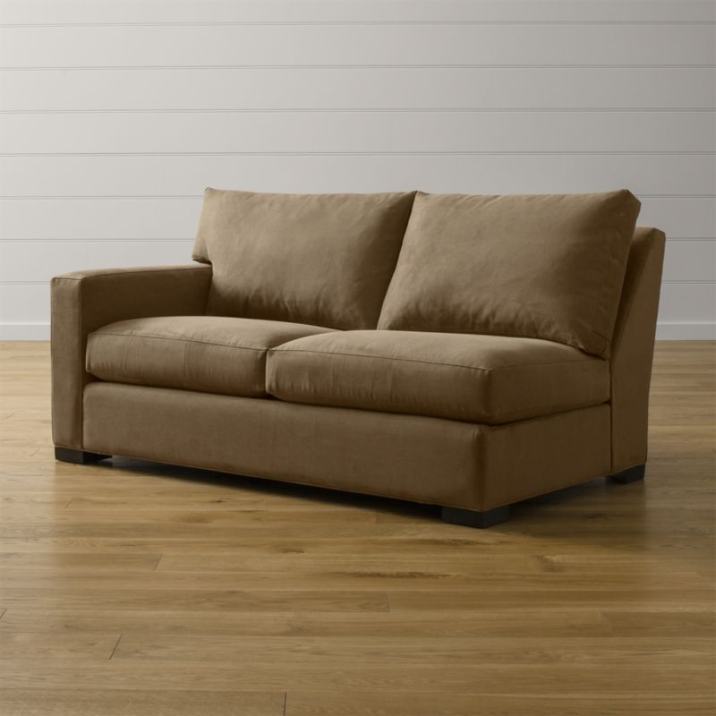 """Bring Axis home and watch life revolve around it. Upholstered in a high-performance fabric that's pet, kid, and family friendly, this left arm full sleeper sofa offers laid-back comfort in family rooms, casual living rooms and guest rooms. <NEWTAG/><ul><li>Frame is benchmade with certified sustainable hardwood that's kiln-dried to prevent warping</li><li>Soy-based polyfoam seat cushion wrapped in fiber-down blend and encased in downproof ticking</li><li>Fiber-down back cushion encased in downproof ticking</li><li>Bi-fold 5½"""" innerspring mattress with quilted top pad</li><li>Sleeper mechanism features an anti-tip safety feature, low-profile support system and locking, tilt-up headrest</li><li>Hardwood legs stained with a rich brown finish</li><li>Made in North Carolina, USA of domestic and imported materials</li></ul><br />"""