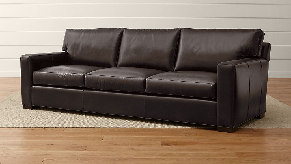 Axis II Brown Leather 3Seat Sofa Crate and Barrel