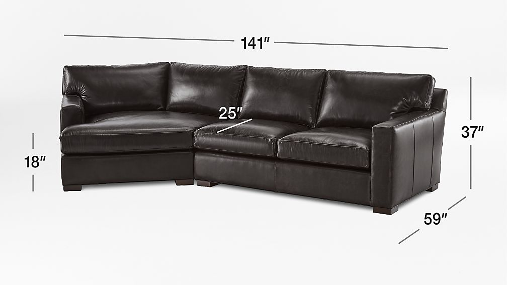 Axis II Leather 2-Piece Left Arm Angled Chaise Sectional Sofa + ...