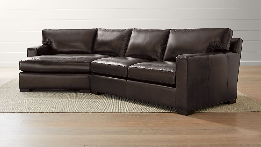 Axis Ii Leather 2 Piece Left Arm Angled Chaise Sectional