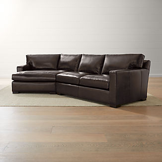 Axis II Leather 2-Piece Left Arm Angled Chaise Sectional Sofa