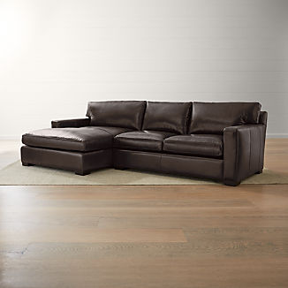 Axis II Leather 2-Piece Left Arm Double Chaise Sectional Sofa
