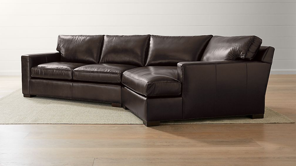 Axis II Leather 2-Piece Right Arm Angled Chaise Sectional Sofa + ...