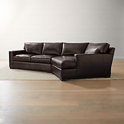 Axis ii leather right arm angled chaise lounge crate and for Angled chaise lounge sofa