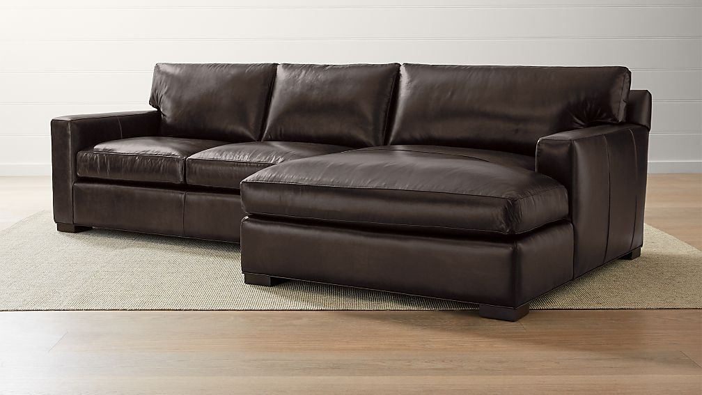 Axis Ii Leather 2 Piece Right Arm Double Chaise Sectional