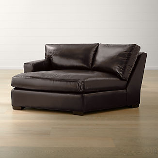 Axis II Leather Left Arm Angled Chaise Lounge