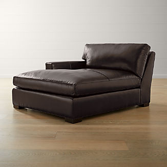 Axis II Leather Left Arm Double Chaise Lounge