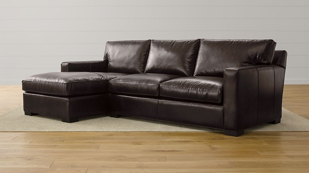 axis ii espresso leather sectional crate and barrel. Black Bedroom Furniture Sets. Home Design Ideas