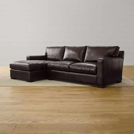 Axis II Espresso Leather Sectional | Crate and Barrel