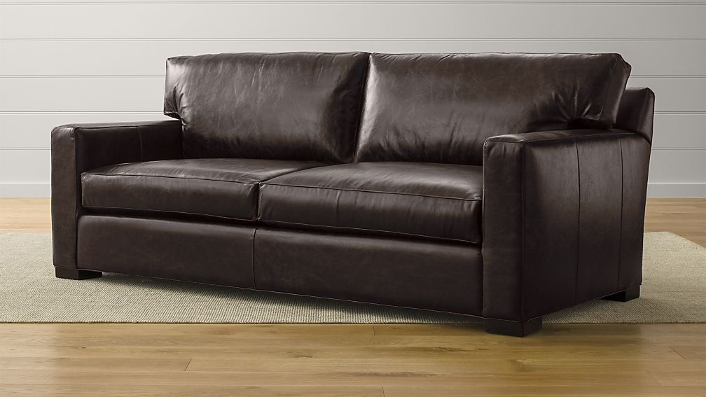 Axis II Brown Leather Queen Sleeper Sofa | Crate and Barrel