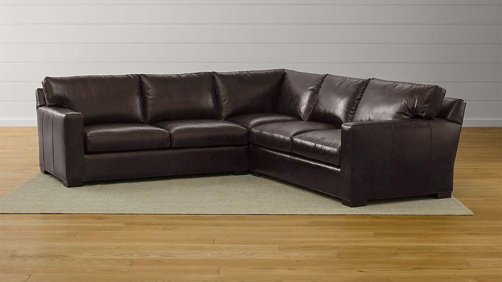 3 piece sectional sofa Axis II Brown 3 Piece Leather Sectional Sofa + Reviews | Crate and  3 piece sectional sofa