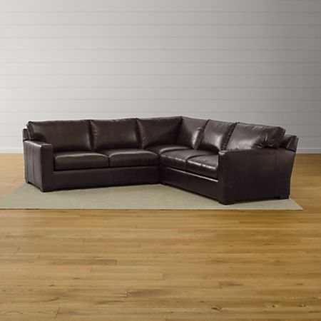 Axis II Brown 3-Piece Leather Sectional Sofa | Crate and Barrel