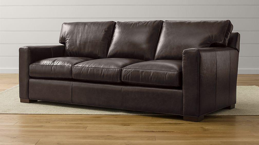 leather sleeper sofa queen Axis II Dark Brown Leather Queen Sleeper Sofa + Reviews   Crate  leather sleeper sofa queen