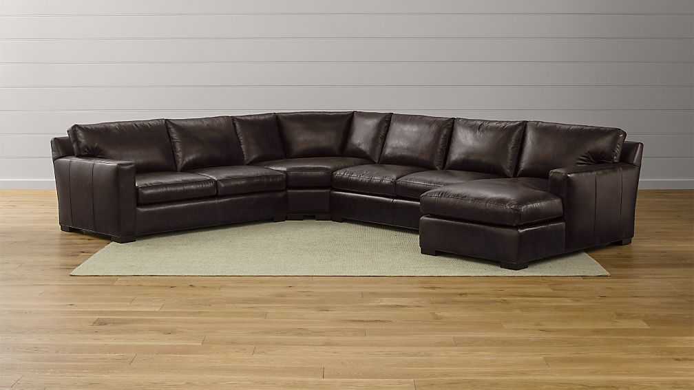 Axis Ii Brown Leather Sectional With Chaise Reviews Crate And Barrel
