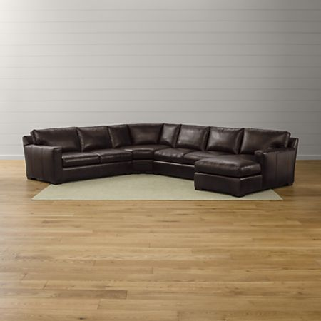 Axis II Brown Leather Sectional with Chaise | Crate and Barrel