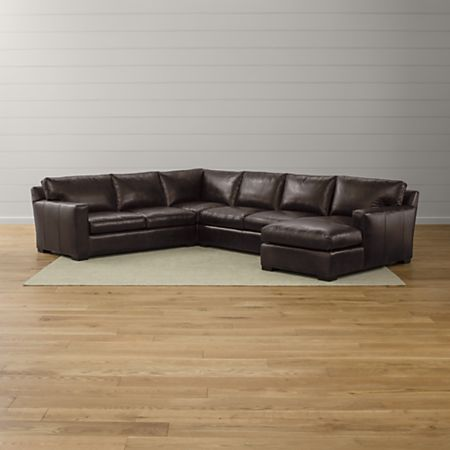 Axis II Brown Leather Sectional Sofa + Reviews | Crate and Barrel