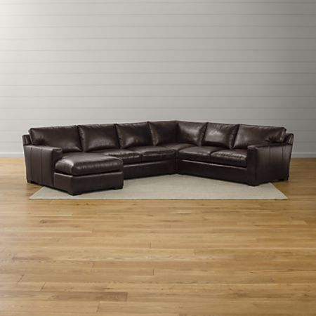 Axis II 4-Piece Leather Sectional + Reviews | Crate and Barrel