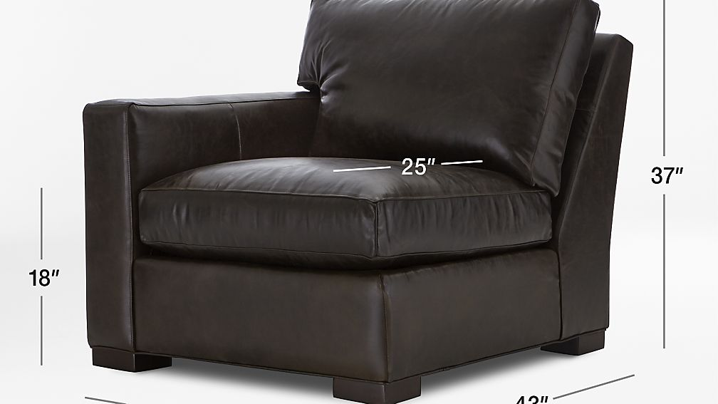 TAP TO ZOOM Image With Dimension For Axis II Leather Left Arm Sectional  Chair