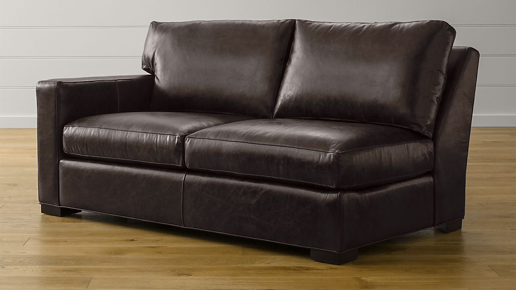 Axis II Leather Left Arm Apartment Sofa + Reviews | Crate and Barrel