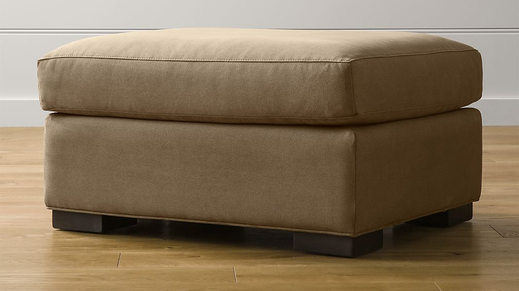 Axis II Brown Ottoman + Reviews | Crate and Barrel