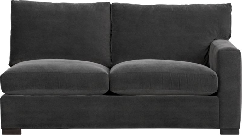 """Our most popular seating solution updates in a slightly slimmer profile with more room to stretch out and more options to dress with your own mix of throw pillows. Its simple lines anchor any room—whether classic, modern or a more eclectic mix—and it's a tremendous value for the quality of construction. Family-friendly fabric cozies in velvety and durable dark grey poly-blend. Benchmade frame is kiln-dried hardwood, and soft down-blend seat cushions have an indulgent wrap in downproof ticking to give it that extra """"ahh"""" factor when you sit down. Axis sectional also available.<br /><br /><strong>Axis II Right Arm Apartment Sofa in Valencia Rock is now on sale. Other colors available at additional cost.</strong><br />After you place your order, we will send a fabric swatch via next day air for your final approval. We will contact you to verify both your receipt and approval of the fabric swatch before finalizing your order.<br /><br /><br /><NEWTAG/><ul><li>Certified sustainable kiln-dried hardwood frame</li><li>Seat cushions are multilayer soy- or plant-based polyfoam wrapped in fiber-down blend and encased in downproof ticking</li><li>Back cushions are fiber-down blend in downproof ticking</li><li>Fabric is 29% polyester, 28% acrylic , 27% nylon and 16% cotton</li><li>Flexolator spring suspension</li><li>Square wood legs with a fossil finish</li><li>Benchmade</li><li>Made in North Carolina, USA</li></ul>"""