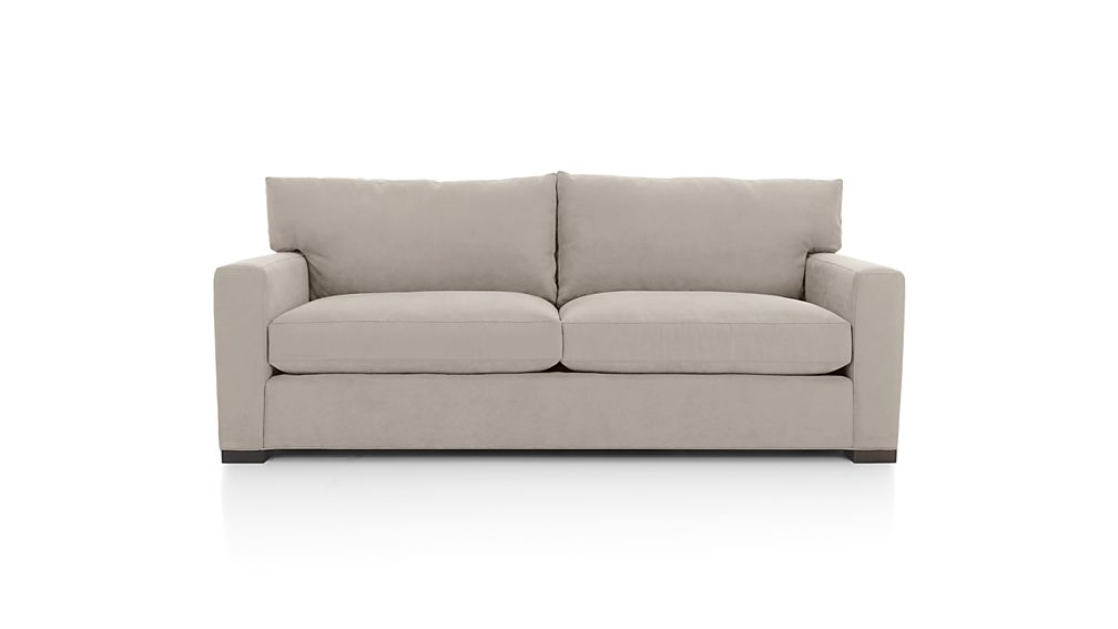 Axis ii grey 2 seat couch crate and barrel for Right size sofa for room