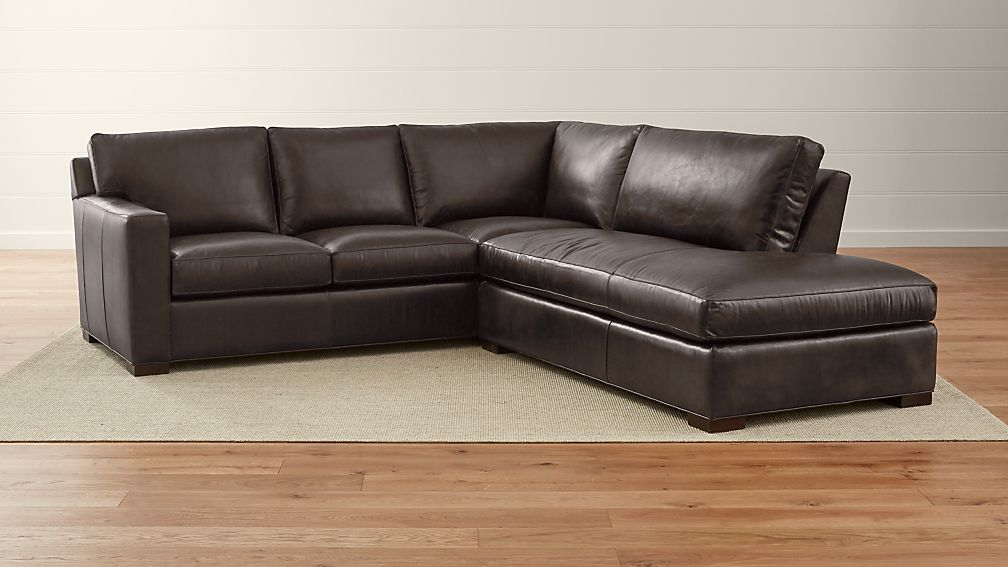Axis II Leather 2-Piece Right Bumper Sectional Sofa ... : brown leather sectional - Sectionals, Sofas & Couches