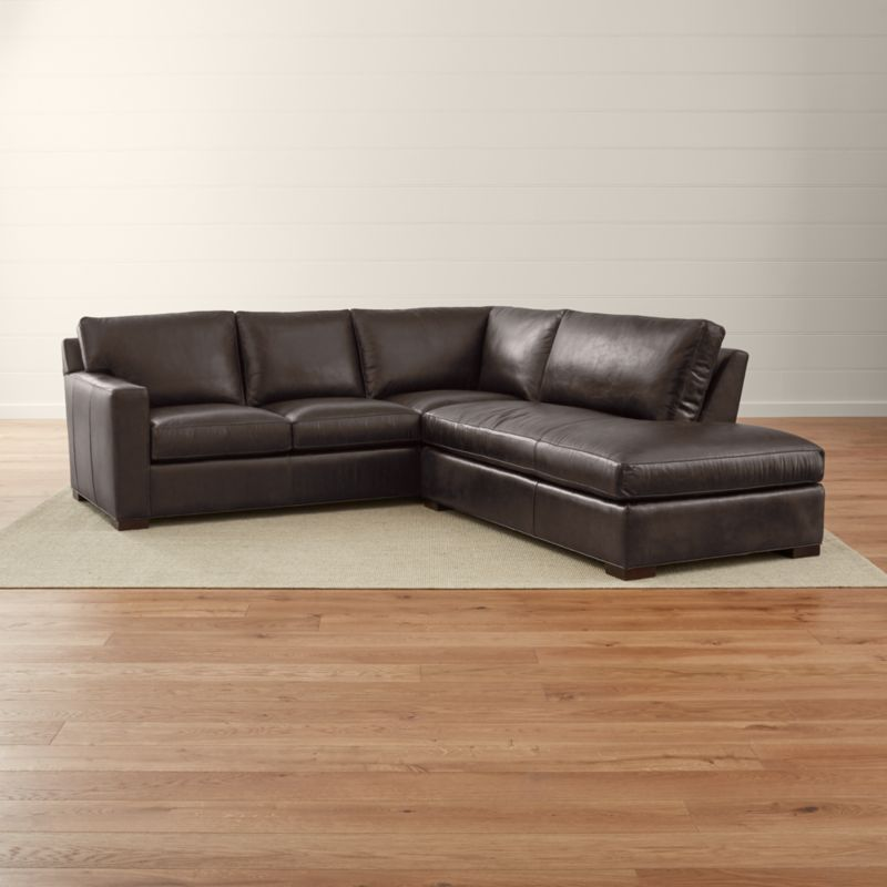 Axis II Dark Brown Leather Sectional Couch Reviews Crate and Barrel