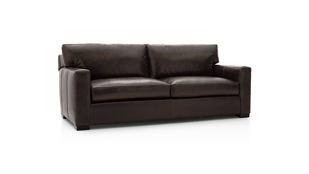 Axis II Brown Leather Queen Sleeper Sofa Crate and Barrel