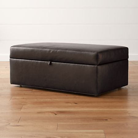 Groovy Axis Ii Leather Storage Ottoman With Tray Crate And Barrel Alphanode Cool Chair Designs And Ideas Alphanodeonline