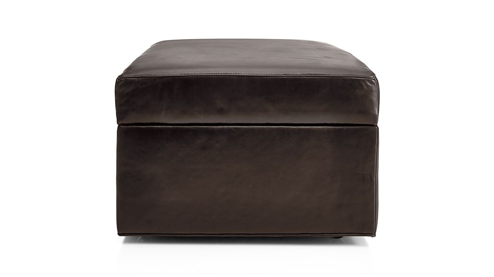 Axis II Leather Storage Ottoman with Tray
