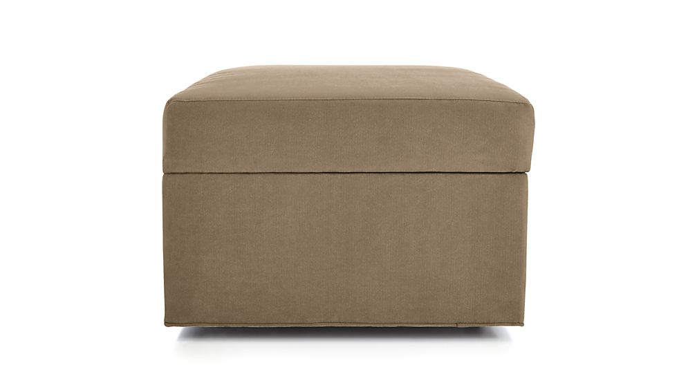 ... Axis II Storage Ottoman with Tray and Casters - Axis II Storage Ottoman With Tray And Casters Crate And Barrel