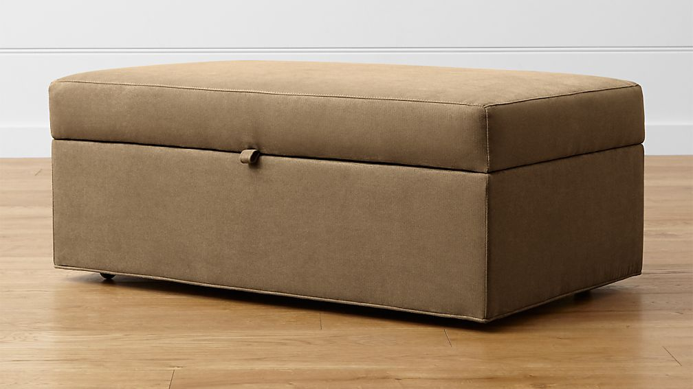 Delightful Axis II Storage Ottoman With Tray And Casters ...