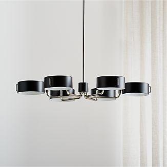 axle nickel black shade chandelier - Black Kitchen Lights