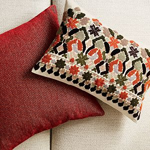 "Maura Red 23"" Pillow with Down-Alternative Insert"