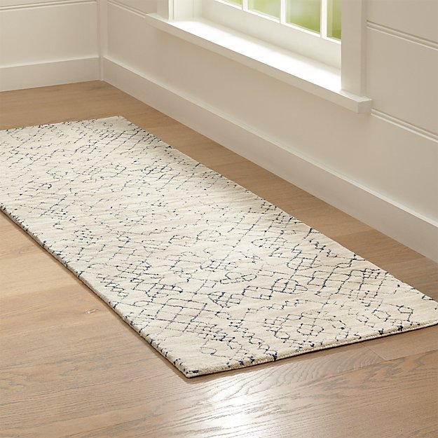 Azulejo Neutral Moroccan Style Rug Runner 2.5'x7