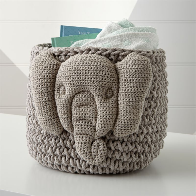 Grey Elephant Knit Storage Bin Reviews Crate And Barrel