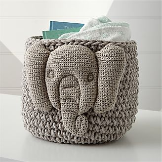 Knit Elephant Storage Bin