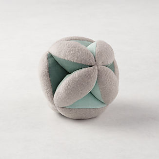 Teal Baby Plush Ball Rattle