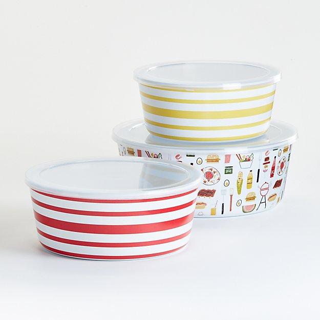 Backyard Barbecue Melamine Storage Bowls, Set of 3 - Image 1 of 3